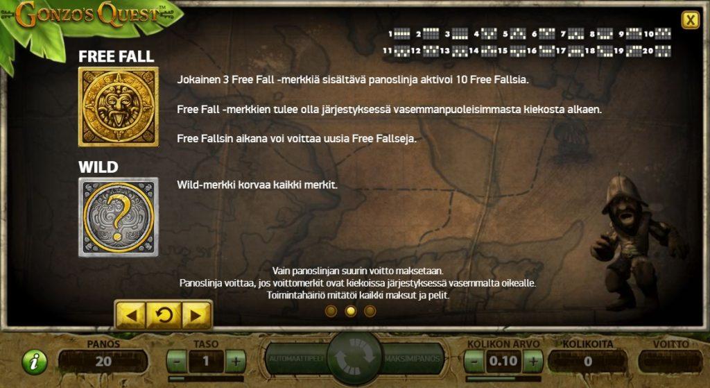 Gonzos Quest Free Fall ja Wild