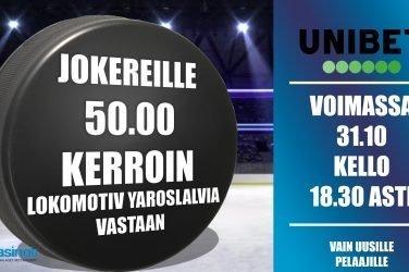 Jokereille 50.00 kerroin Lokomotiv Yaroslalvia vastaan