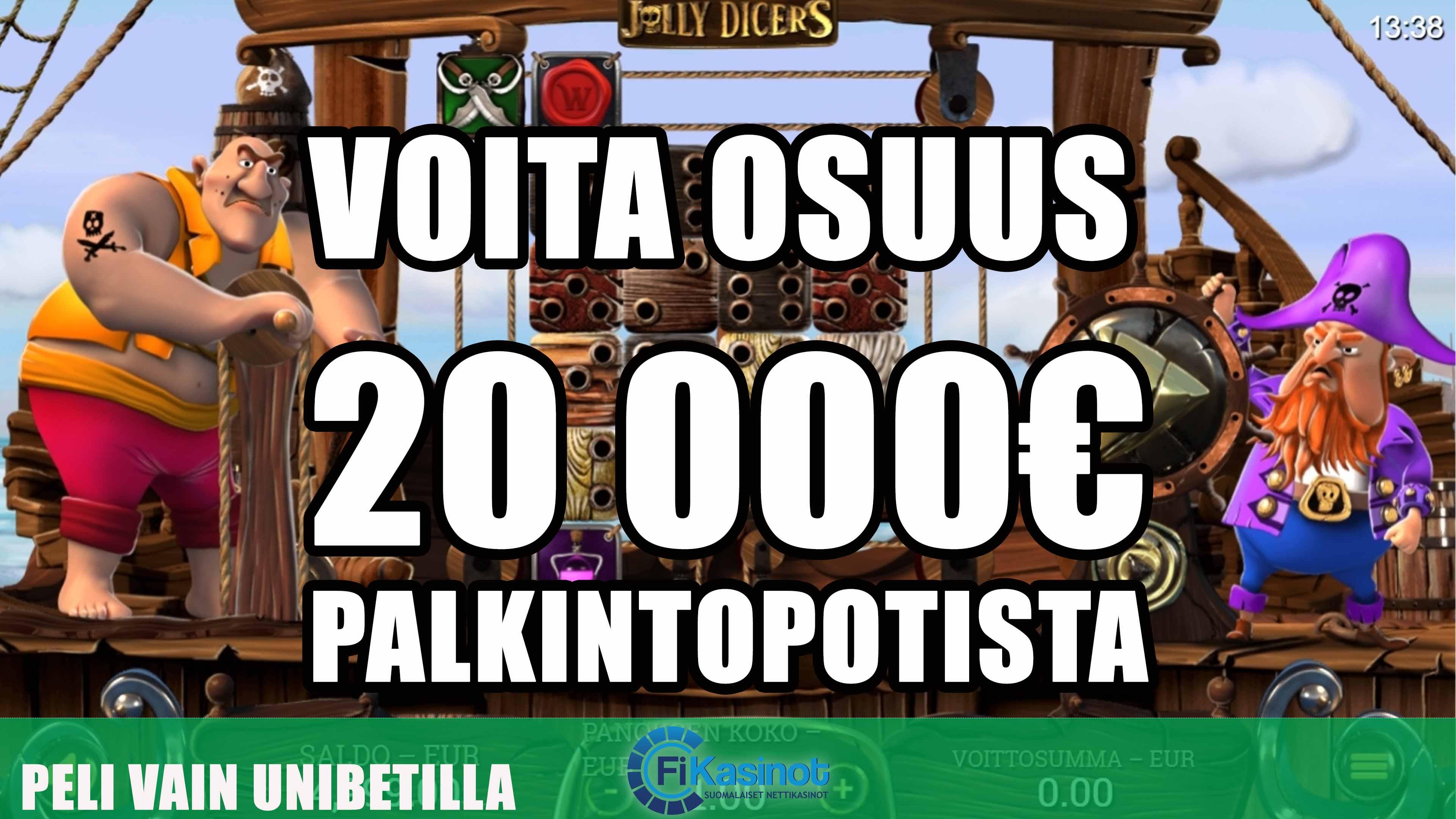 Unibetilta 20 000 eurolla käteistä turnauksesta