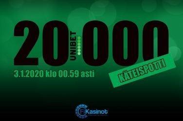 20 000 euron käteisturnaus Unibetillä