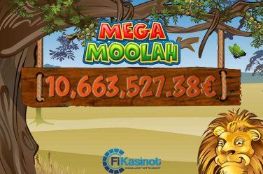 Mega Moolahista yli 10 miljoonaa euroa