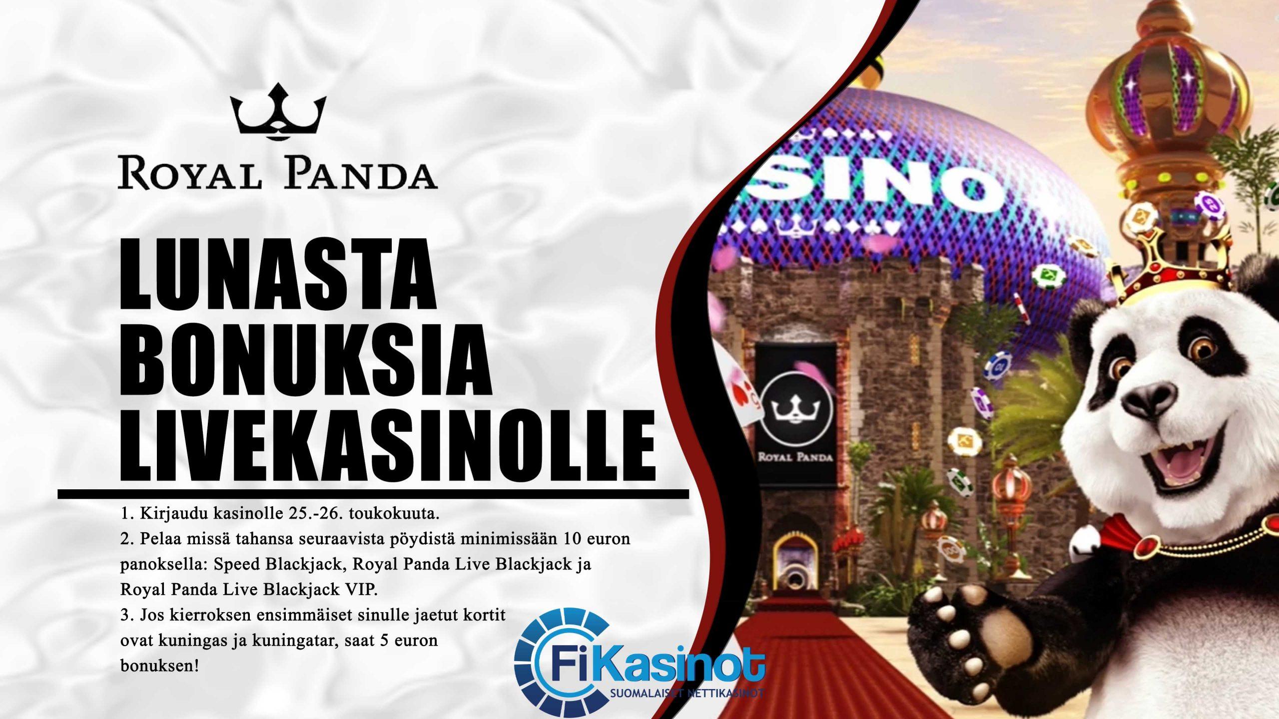Bonuksia Royal Pandan live-kasinolla