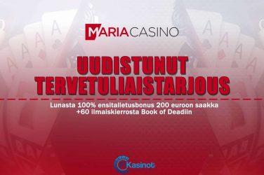 Maria Casinon uudistunut tervetuliaistarjous