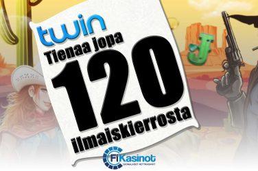 120 ilmaiskierrosta Twin Casinolla