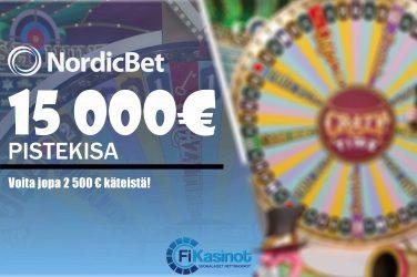 15 000 euroa käteistä Nordicbetiltä